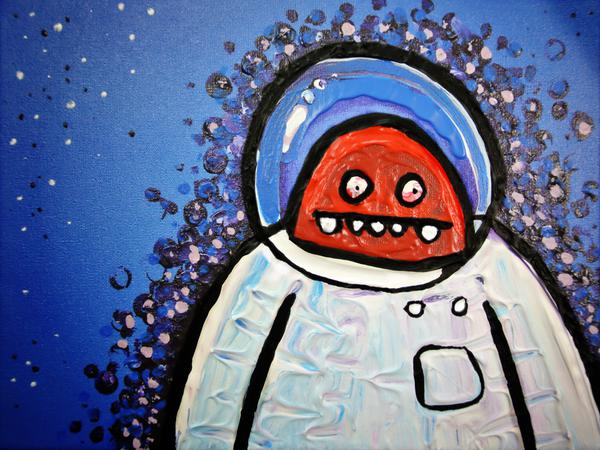 Astronaut has second thoughts // 24 x 18 cm // acryllic paint on canvas // 2015 // 3016 views