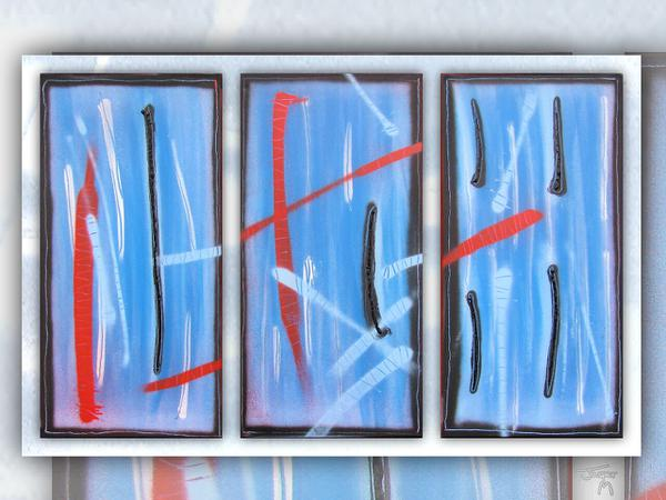 Azul // 80 x 40 cm x 3 // graffiti and acryllic paint on canvas // 2009 // 5783 views