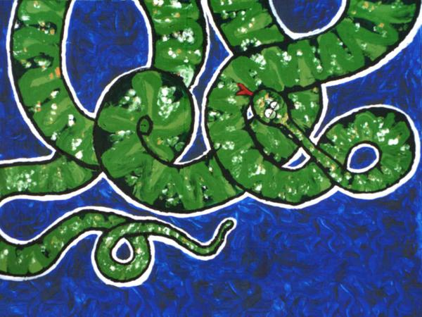 Boa constrictor on monday morning // 40 x 60 cm // acryllic paint on panel // 2002 // 3111 views
