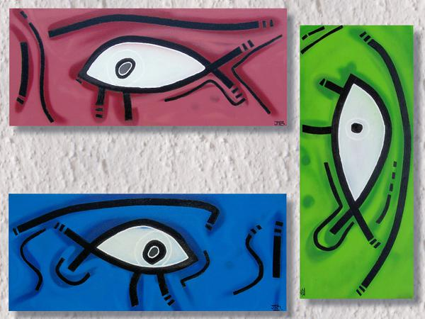 Egyptian gaze // 70 x 30 cm x 3 // graffiti and acryllic paint on canvas // 2006 // 6439 views