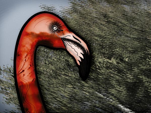 Flamingo strongly opposes // 190 x 60 cm // digital composition // 2011 // 6134 views