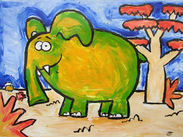 Just a content elephant // 40 x 30 cm // acryllic paint on paper // 2003 // 6194 views