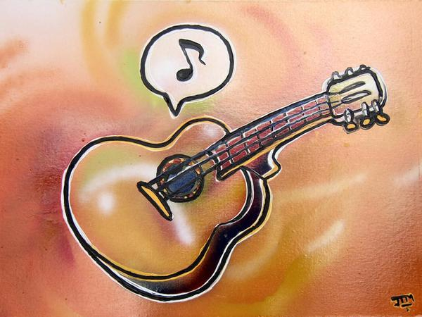 Guitar makes sound // 70 x 50 cm // graffiti and acryllic paint on panel // 2004 // 5806 views