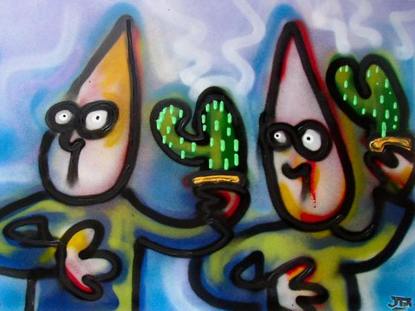 Individuals with cactus // 80 x 50 cm // graffiti and acryllic paint on panel // 2004 // 5424 views