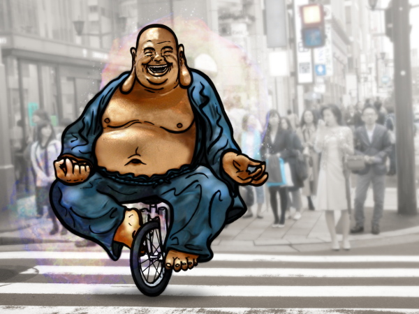 Laughing Buddha on unicycle // 80 x 60 cm // digital composition // 2014 // 4501 views