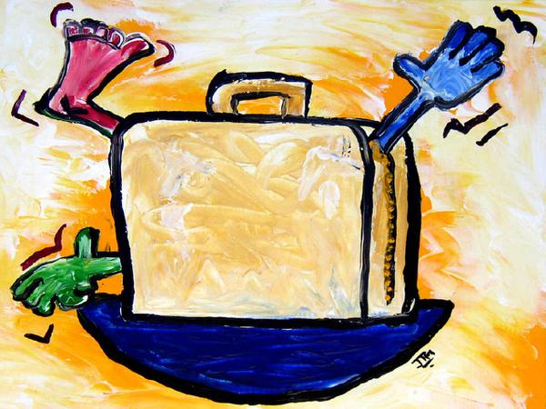 Man in suitcase // 30 x 25 cm // acryllic paint on paper // 2003 // 5259 views