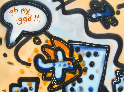 Oh my god // 80x60 cm // graffity and acryllic paint on canvas // 2006 // 5666 views