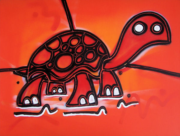Turtle in red // 90 x 60 x 3 cm // graffiti and acryllic paint on canvas // 2007 // 6235 views