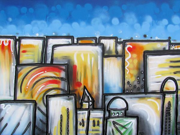 Vista on city // 160 x 100 cm // graffiti and acryllic paint on canvas // 2009 // 5727 views