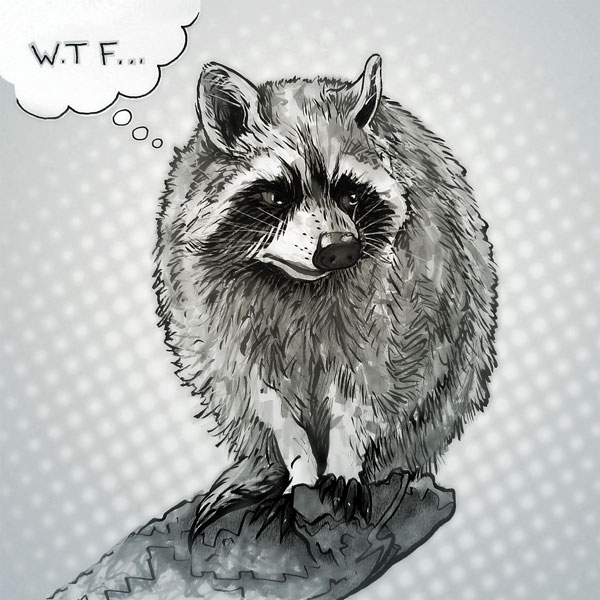 Flabbergasted raccoon // 1:1 // Mixed media // 2020 // 2456 views